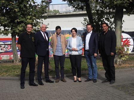 v.l.n.r.: Sven Adler (TV), Hans-Peter Kratz (TV), Bijan Kaffenberger (MdL), Nadine Gersberg (MdL), Tobias Eckert (MdL), Hamid Bhatti (TV)